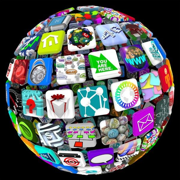 3d globe with logos arranged as tiles across the surface