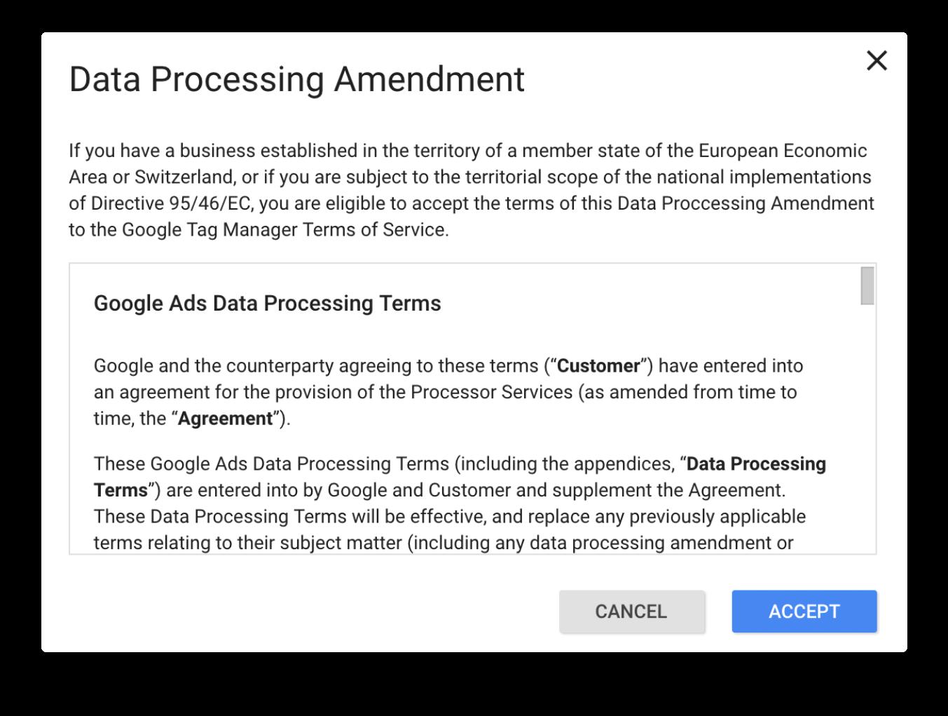 Google Ads data processing amendment